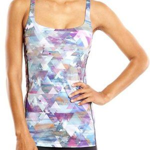 LUCY Let It Be Geometric Athletic Bra Tank Large